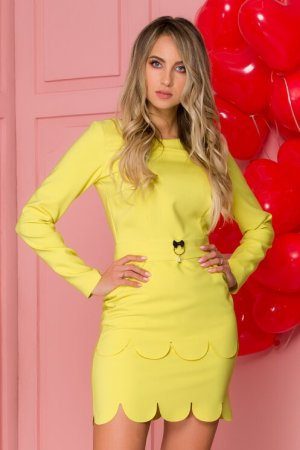 Rochie eleganta scurta mulata galben cu terminatii semicerc decolteu rotund