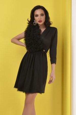 Rochie eleganta scurta neagra din tafta elastica cu volanase din tulle