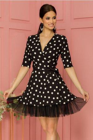 Rochie eleganta scurta neagra petrecuta cu buline albe si tull la baza