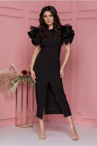 Rochie neagra cu volane la maneci si crepeu in fata