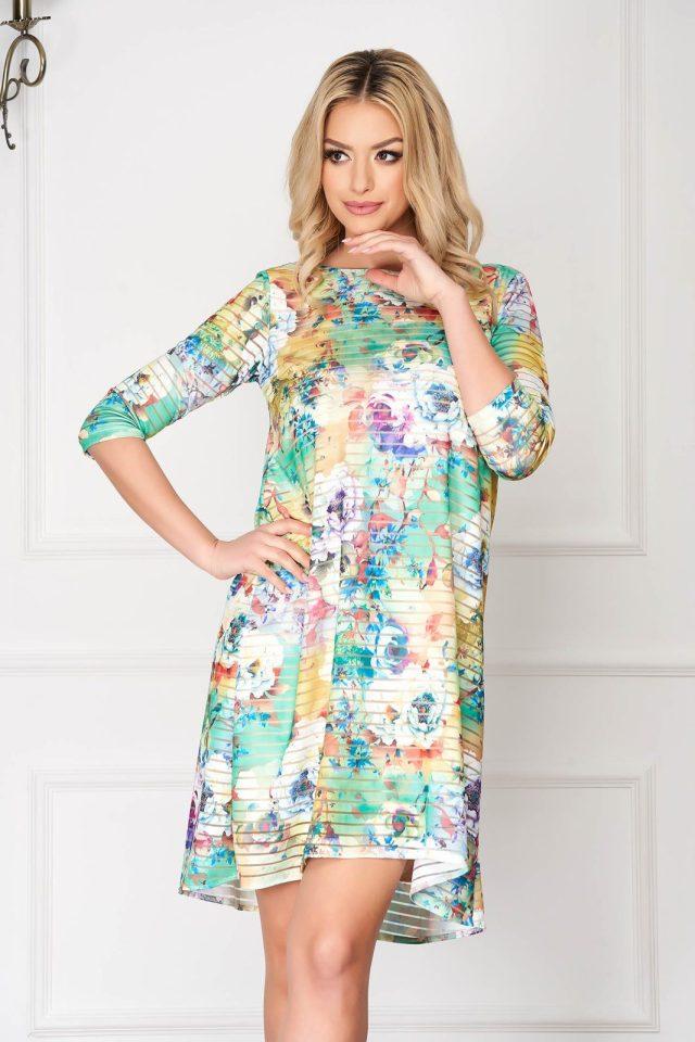 Rochie verde eleganta midi din lycra cu croi larg si imprimeu floral