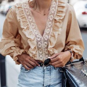 Bluza bej din material subtire cu dantela si maneci lungi