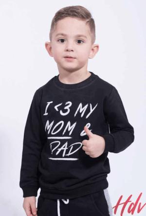 Bluza din bumbac negru pentru copil cu imprimeu cu scris