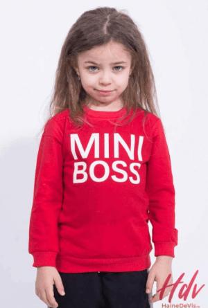 Bluza rosie pentru fetite cu imprimeu cu scris