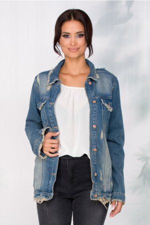 Jacheta din denim cu aspect prespalat
