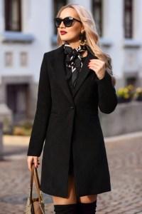 Palton dama negru scurt drept cu un singur nasture din stofa