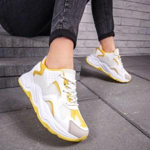 Pantofi sport dama albi cu galben Ritesa