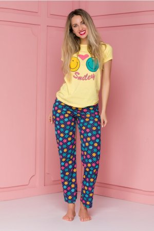 Pijama cu tricou galben si pantaloni bleumarin