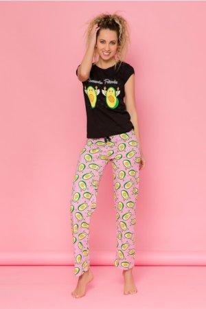 Pijama cu tricou negru si pantaloni roz