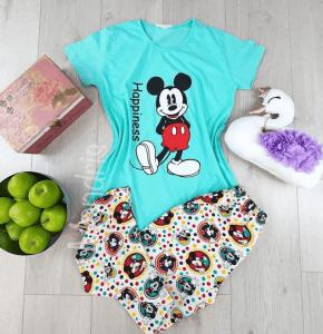 Pijama dama ieftina din bumbac cu tricou albastru si pantaloni lungi albi cu imprimeu Mickey Mouse Happiness
