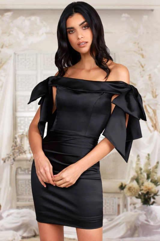 Rochie de seara eleganta si rochie de ocazie scurta neagra din bumbac satinat