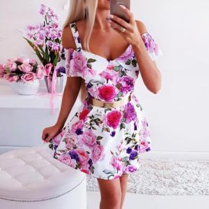 Rochie de zi scurta eleganta cu imprimeu floral