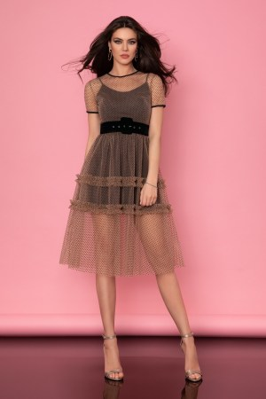 Rochie eleganta midi din tulle bej cu buline negre