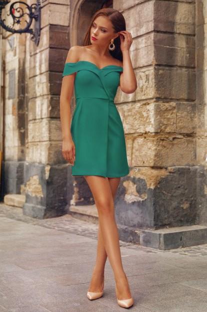 Rochie eleganta si rochie scurta de zi verde cu umerii goi din barbie