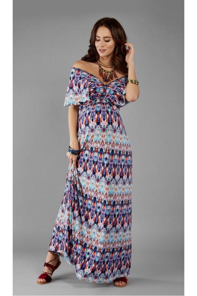 Rochie maxi cu imprimeu colorat pentru gravide