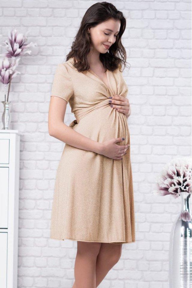Rochie scurta bej pentru gravide