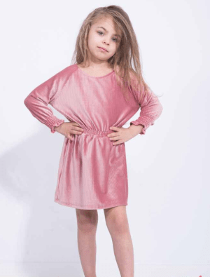 Rochie scurta din catifea roz prafuit pentru fetite cu elastic la talie