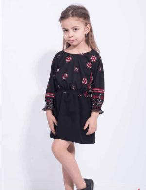 Rochie scurta neagra pentru fetita cu imprimeu geometric si elastic la talie
