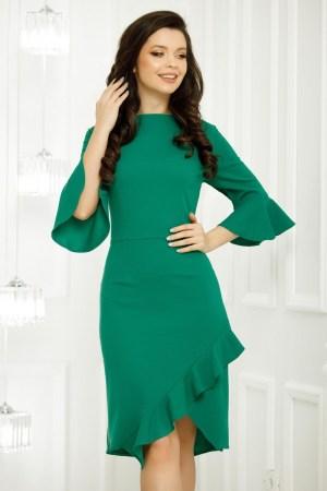 Rochie verde cu maneci clopot si volan