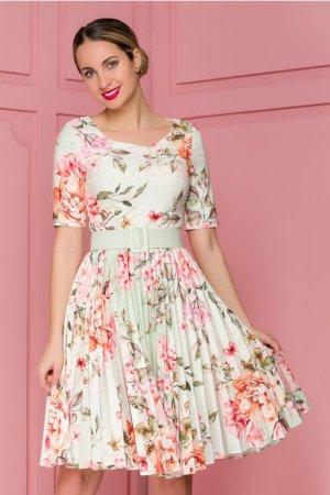 Rochie vernil cu fusta plisata si imprimeu floral