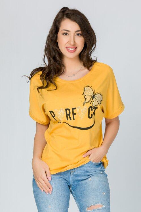 Tricou Perfect galben mustar cu imprimeu si strasuri