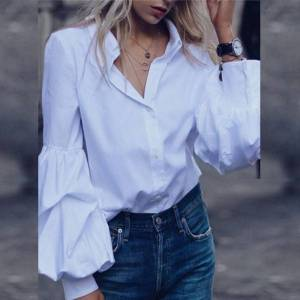 Bluza dama alba tip camasa cu maneci voluminoase