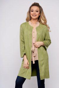 Cardigan verde-deschis casual din velur cu un croi drept si maneci trei-sferturi