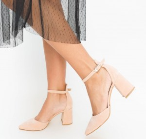Pantofi roz cu toc din piele eco intoarsa