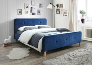 Pat tapitat cu stofa Malmo Velvet Blue, 200 x 160 cm