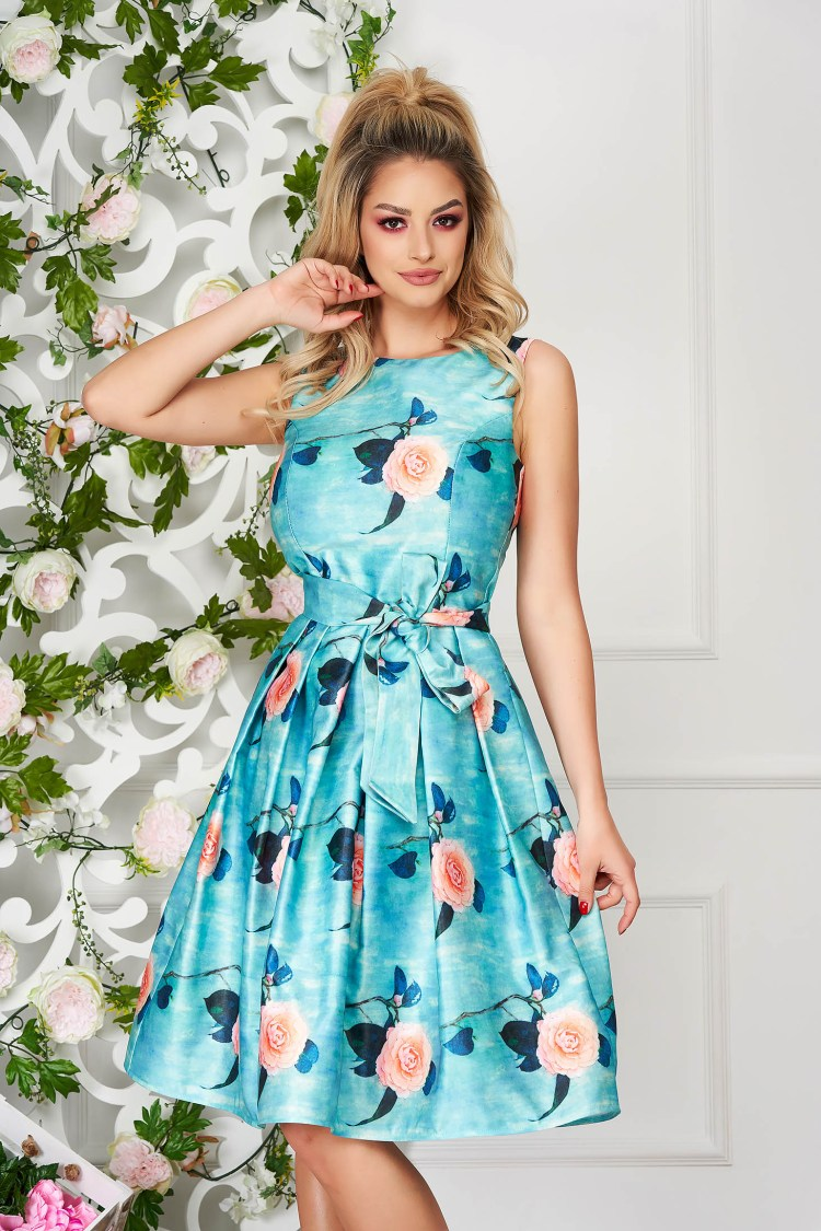 Rochie albastru aqua midi de ocazie din satin fara maneci cu imprimeu floral