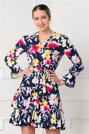 Rochie eleganta bleumarin cu imprimeuri in nuante de roz si galben
