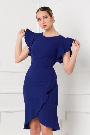Rochie eleganta cambrata albastra cu design petrecut si volane