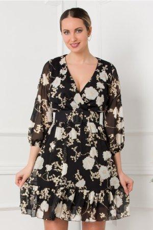 Rochie eleganta in clos neagra cu imprimeu floral si curea in talie
