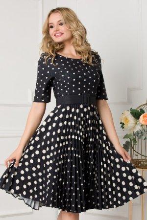 Rochie eleganta midi in clos neagra cu fusta plisata si imprimeu cu buline