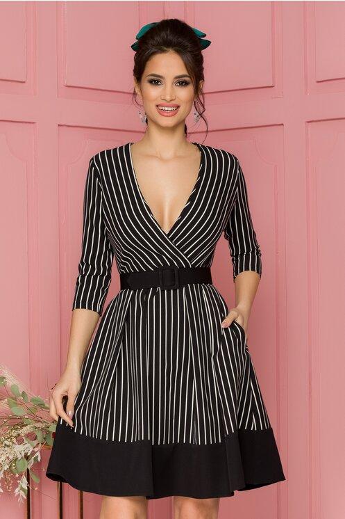 Rochie eleganta neagra cu imprimeu in dungi si curea in talie