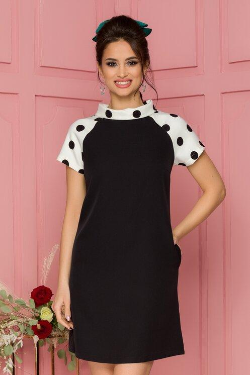 Rochie eleganta neagra scurta cu insertii albe si buline negre