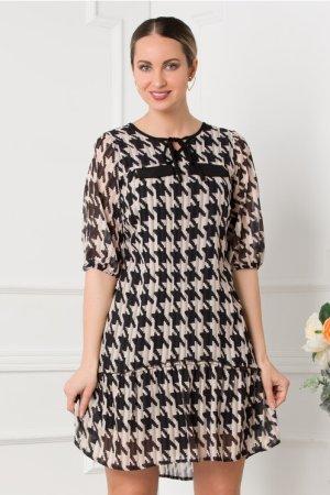 Rochie eleganta scurta cu print picior de cocos negru cu bej