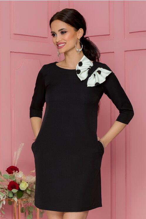 Rochie eleganta scurta neagra cu funda maxi alba cu buline