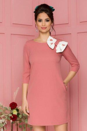 Rochie eleganta scurta roz prafuit cu funda maxi alba cu buline