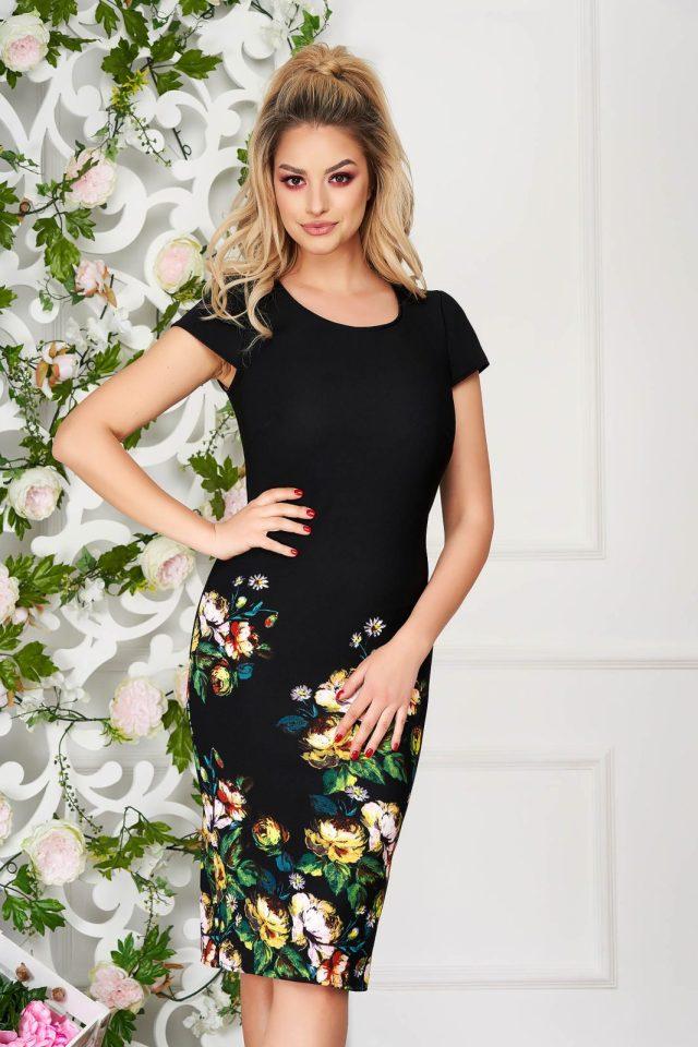 Rochie neagra eleganta midi tip creion din material reiat cu imprimeu floral