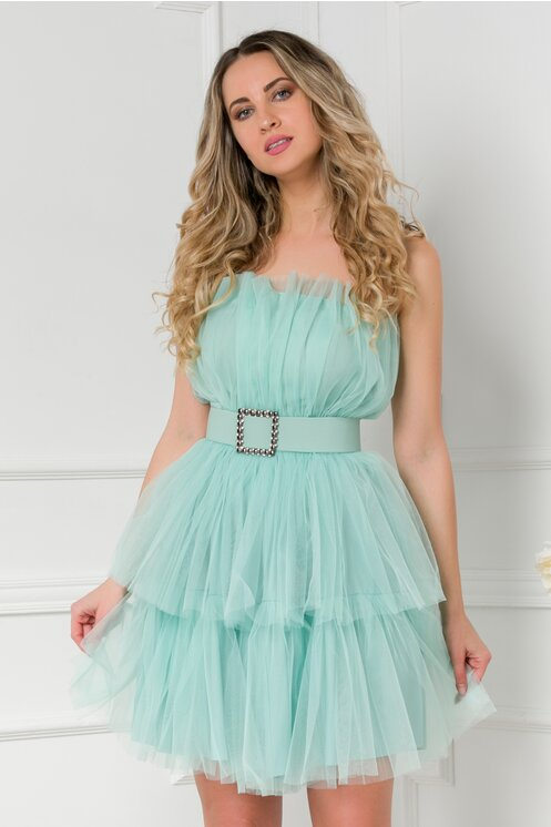 Rochie verde mint din tull