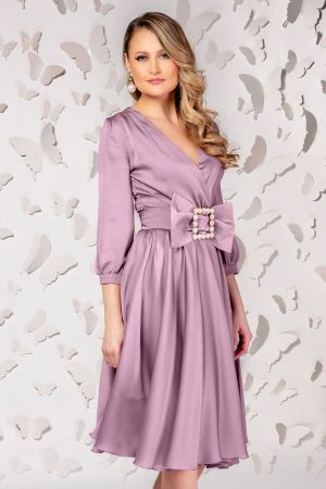 Rochie de ocazie lila in clos cu cordon tip funda