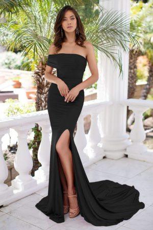 Rochie de seara eleganta si rochie de ocazie lunga neagra cu umar gol