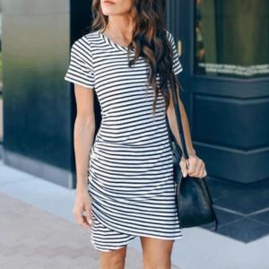 Rochie de zi scurta alb negru