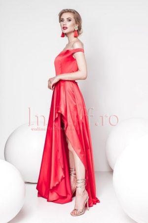 Rochie eleganta rosie din tafta lasata pe umeri
