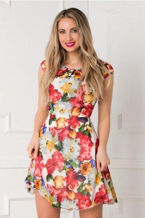 Rochie eleganta scurta din voal alba cu imprimeu floral multicolor