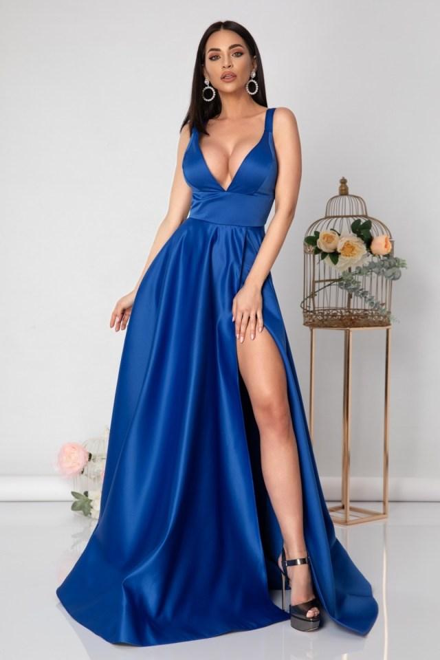 Rochie lunga albastra din tafta