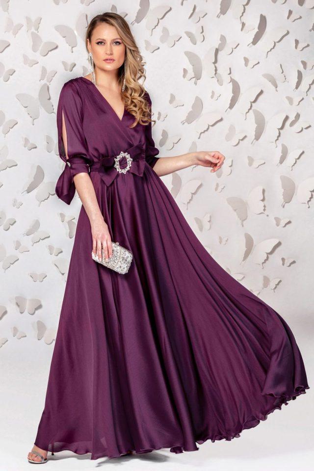 Rochie lunga de seara violet inchis cu cordon tip funda