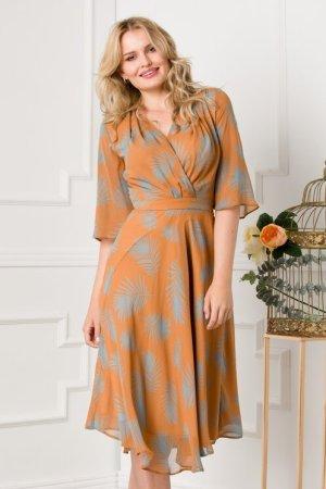 Rochie maro cu imprimeu bleu