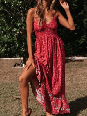 Rochie maxi de vara rosie cu imprimeu
